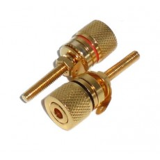 BG1017: GOLD BINDING POST CONNECTOR FOR 10GA to 12GA WIRE, 2-Pac