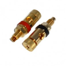 BG1021: GOLD BINDING POST CONNECTOR FOR 10GA to 12GA WIRE, 2-Pac