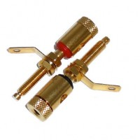BG1023: GOLD BINDING POST CONNECTOR FOR 10GA to 12GA WIRE, 2-Pac