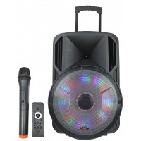 "PPA-15ABU: 15"" 1500W LED Light Karaoke Portable Active SP"