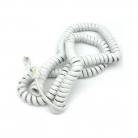 TC6014-25: 25FT Handset TEL Coiled Extension cord, White