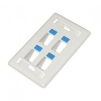 CAT603-4: 45  Degree Keystone wall plate 4 hole with icon