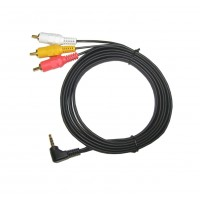 CA1076: 3FT TO 12FT, GOLD 3RCA PLUG TO 3.5mm STEREO ANGLED CABLE
